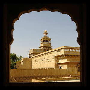 Yellow stone havelis of Jaisalmer City, Rajasthan, India.
