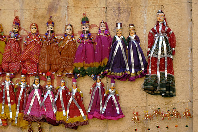 Puppet dolls on sale in Jaisalmer City, Rajasthan, India. South Asia.