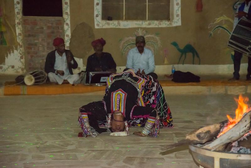 Traditional gypsy/folk performance at Rawla Resort, Sam Desert, Jaisalmer, Rajasthan, India.