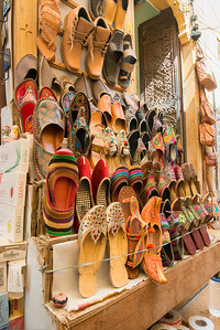 Footwear vendor in Jaisalmer, Rajasthan, India.