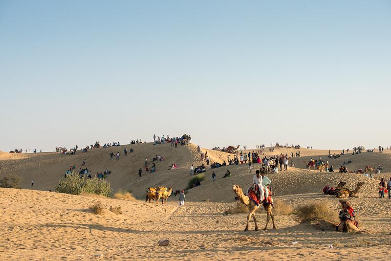 Camel safari at Sam desert, Jaisalmer, Rajasthan, India.