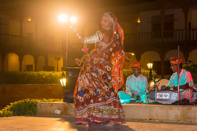 Folk musicians of Rajasthani perform a song and dance act, Jaisalmer, Rajasthan, India.