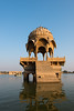 Gadi Sagar Lake is dotted with temples, shrines, gardens and ghats. Surrounded by shrines and temples, the lake has been consecrated as part of pilgrimage in the city.  Jaisalmer, Rajasthan, India.