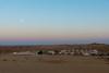 Moon over the Sam Dunes post sunset, Jaisalmer, Rajasthan, India.