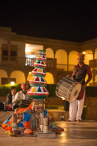 Rajasthani Folk dancers and musicians, Jaisalmer, Rajasthan, India.