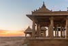 Sunset point at Vyas Chatri, Jaisalmer, Rajasthan, India. There are two groups of Cenotaphs (Vyas Chhattri for Brahmins and Bada Bagh for the royal families) situated at the end of town giving a spectacular view of the Jaisalmer Fort and the Sunset opposite it. Jaisalmer, Rajasthan, India.