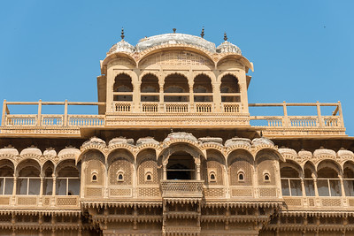 Intricate work on the facade of the buildings in Jaisalmer City, Rajasthan, India.