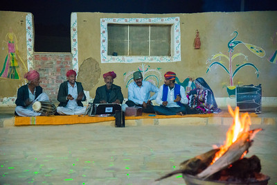 Traditional gypsy/folk performance at Rawla Resort, Sam Desert, Jaisalmer, Rajasthan, India.