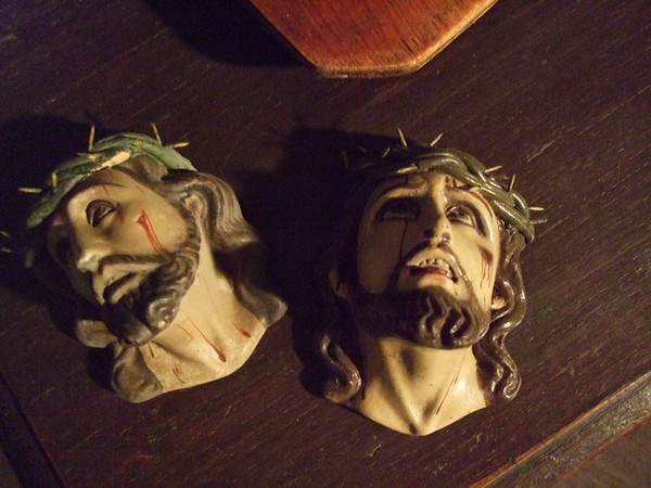 Two clay heads of Jesus found packed in a box at Marc Navarro's warehouse 6/2009 - made no later than 1970 but perhaps much earlier - SOLD