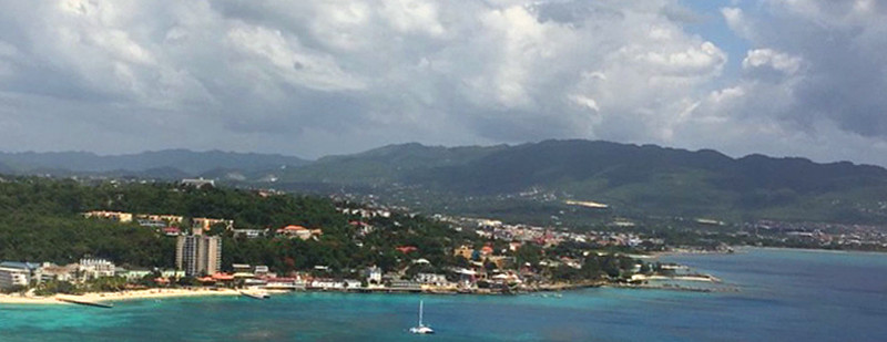 Approaching Montego Bay by plane