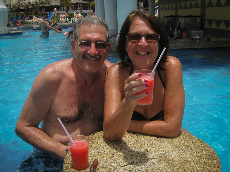 Mom and Dad enjoying the pool.