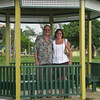 Mom and Dad in front of a park during our trip into the city to see Montego Bay.