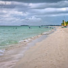 A view looking down the beach in Negril.
