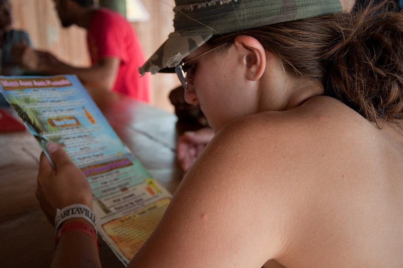 Emily checking out the drink menu... so many to choose from, so little time...