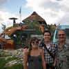 Em, Dad, and I in front of Margaritaville in Montego Bay. They had a few giant trampolines out in the water.