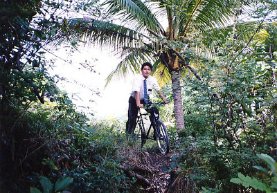 Elder Salleh on his bike in Highgate; he spent 7 months in that area.