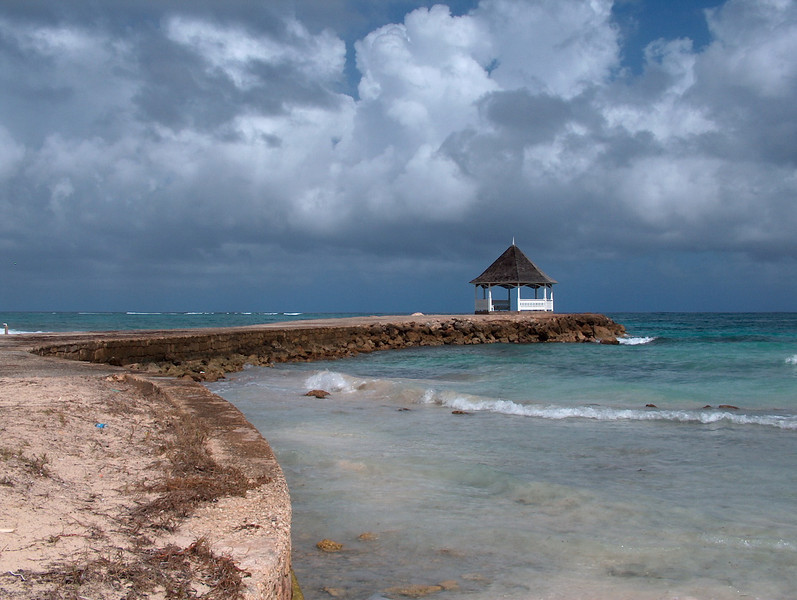 The gazebo on the Silver Sands rum jetty