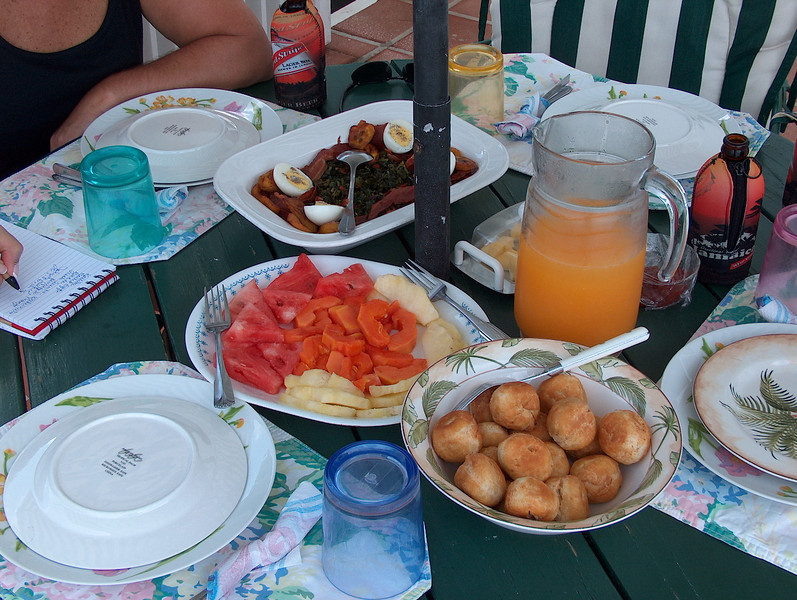 the house staff prepared us a late breakfast at poolside each day around noon. This is Sunday's lunch of Johnny Cakes, fresh fruit, fresh squeezed OJ, and Calaloo with bacon and eggs.  We would be fighting over the many different Calaloo dishes by week's end....YUM!