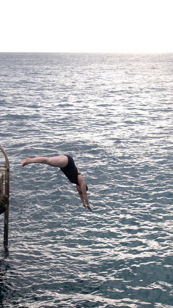 Christine cliff diving!  Poor form though, we give it a 6.5.