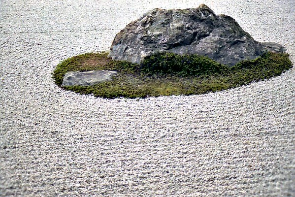 Karesansui (dry landscape) rock garden Ryoan-ji Kyoto Japan - Oct 1980