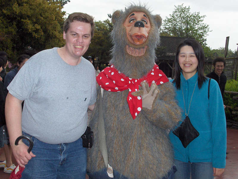 """Standing next to one of the <a href=""""http://disneyvideos.disney.go.com/moviefinder/products/2840603.html"""">Country Bears.</a>"""