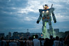 "On temporary display, this ""life size"" rendering of the robot Gundam stands 18 meters tall, in Shiokaze Park in Odaiba, Japan."