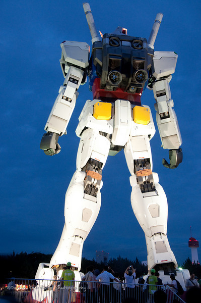 "On temporary display, this ""life size"" rendering of the robot Gundam, seen from the back, stands 18 meters tall, in Shiokaze Park in Odaiba, Japan."