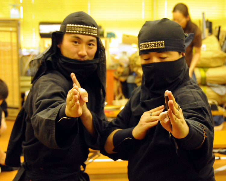 Ninja lesson. Ninja master on left with pupil.