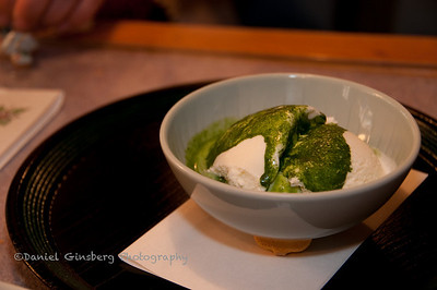 Green tea on ice cream served at a tea house in Yamanakaonsen, Japan.