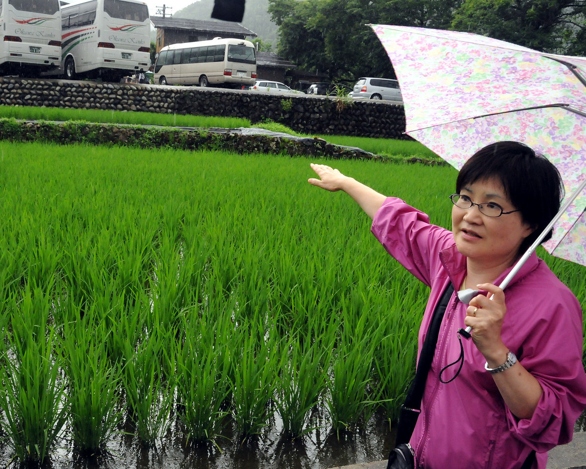 Our guide Masako Yamada and a rice field in Shirakawago