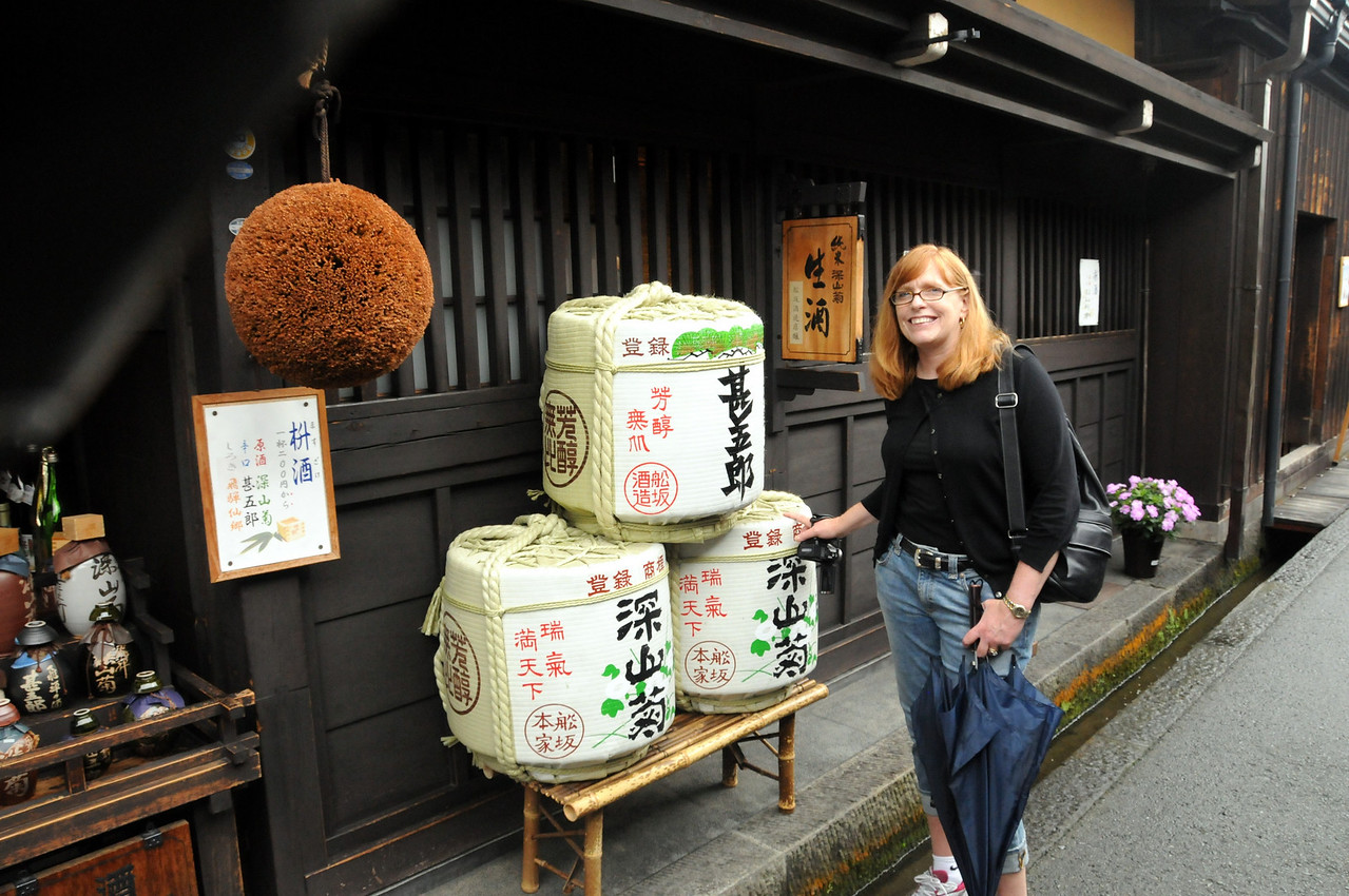 Sake brewery in Takayama. When the cedar ball turns brown the sake is ready