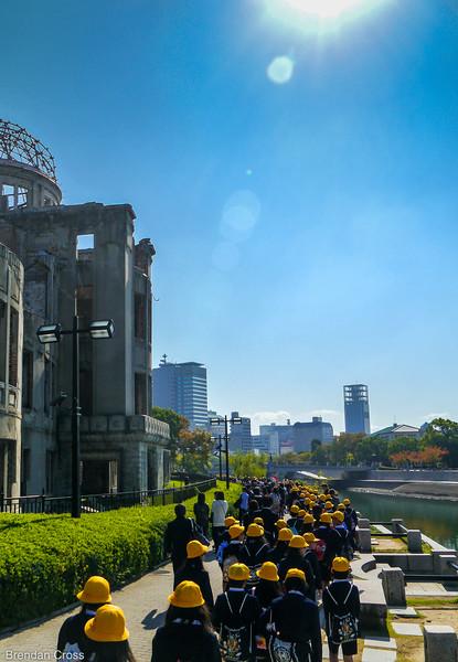 Students and the Genbaku Dome, Hiroshima Peace Memorial Park