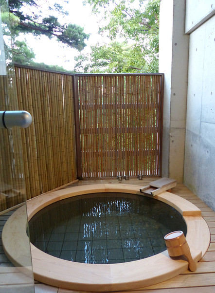 Hot bath on deck attached to our room at Beniya Mukayu, Yamashiro Onsen