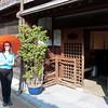 Jeane posing at Higashi Chayagai (geisha) District, Kanazawa