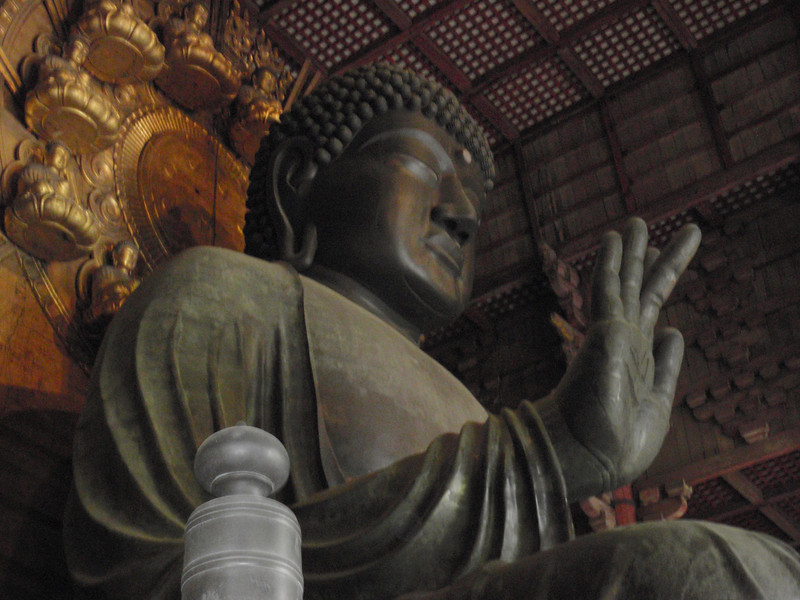 "Day 3: Nara - due to fire and earthquakes, different pieces of the Buddha have needed to be recast over the years. The head is the ""newest"" part, but is still over 150 years old."