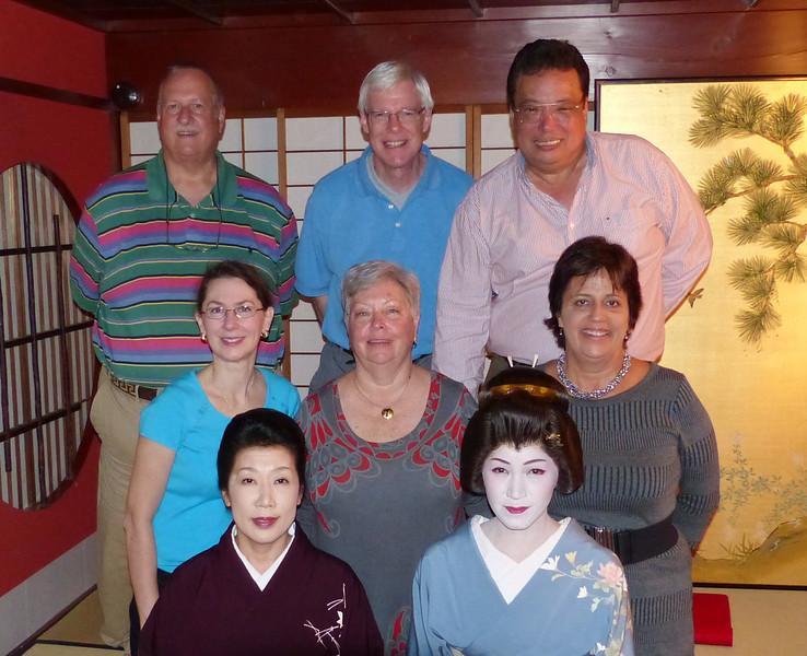 "The ""gang"" posing after the Geisa performance, Kikunoya, Kanazawa"