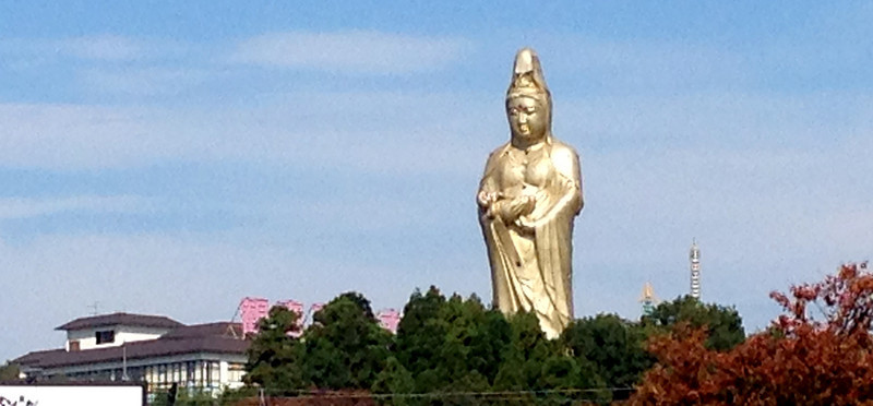 View of Buddha from Kaga train station near Beniya Mukayu, Yamashiro Onsen