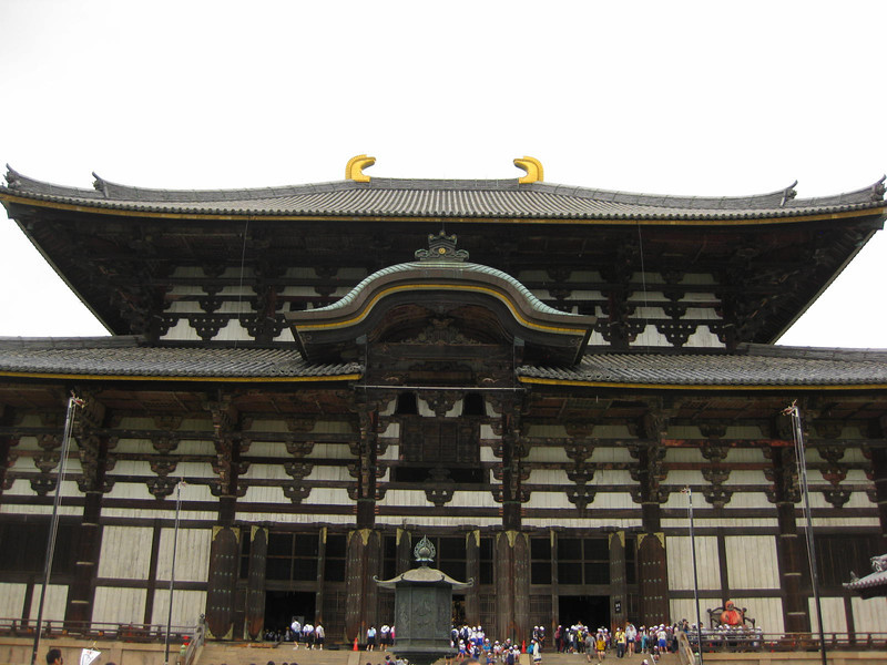 Day 3: Nara - notice the horns on top of the roof of the Great Buddha Hall at Tōdai-ji. You never see this in Chinese or Korean temples, only here in Japan.