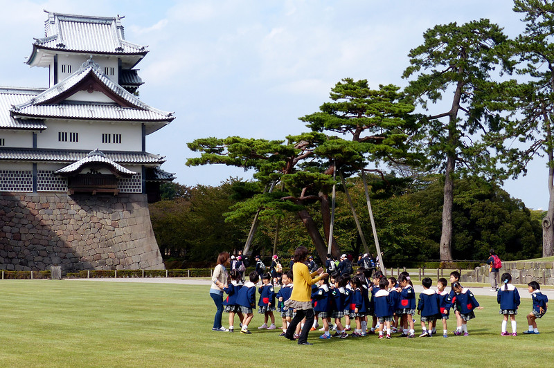 School children outside Kanazawa Castle