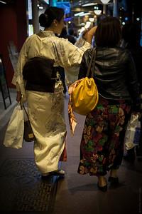 Kimono Ladies By Night , Kyoto