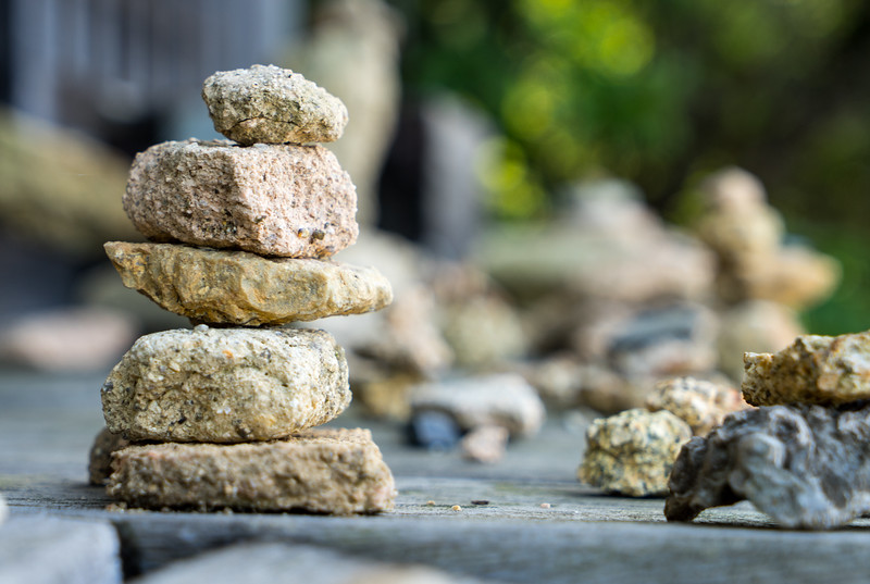 Artsy shot of rock piles that people have to make when they do anything outdoorsy these days.