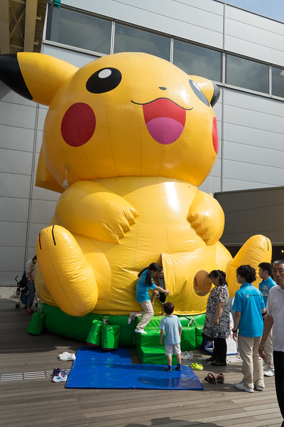 Slightly unsettling giant Pikachu/bouncy house found in an entertainment district in Tokyo Bay, Odaiba.