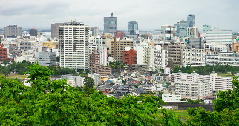 Overview of the city of Sendai from the Sendai Castle