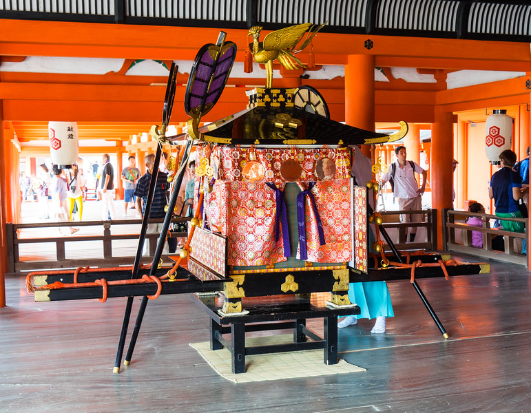 I was at Miajima Island on the day of a festival where they would take this shrine to the water, dance around, sail it around the island, and return at high tide.  I think copious amounts of sake drinking was also involved...