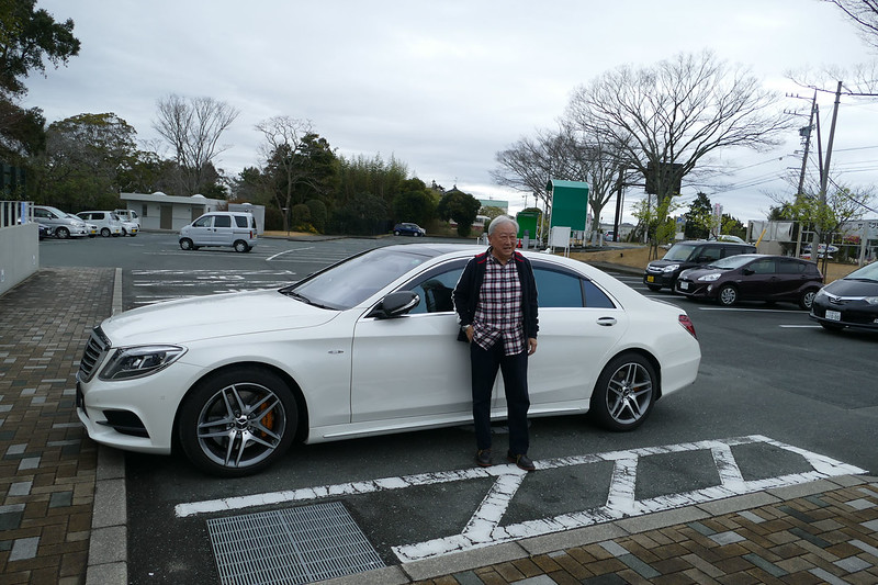 Kuni & his Mercedes. Marita, Janet & Warren's modest mode of transport in Hamamatsu