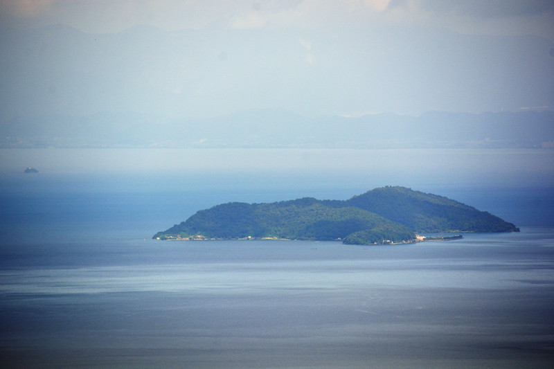 Okshima Island, on Lake Biwa, seen from Hiei-Zan summit
