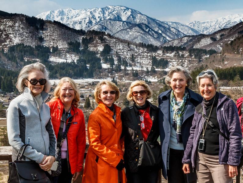 The Six Saki Sisters at the Ogimachi overlook, Shirakawago.