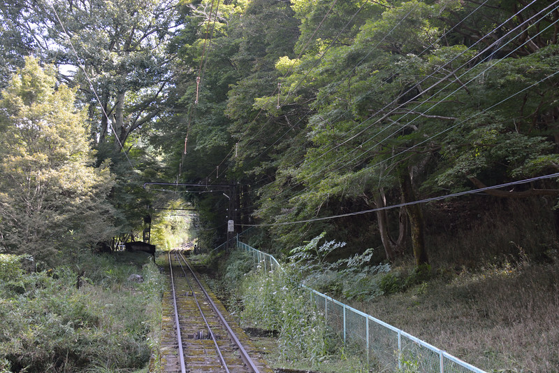 The cable car tracks to Hiei-zan and the Garden Museum and Temples above that.