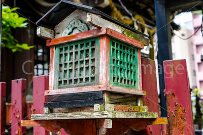A wooden lantern at the Yanagimori Shrine