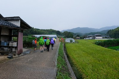 We set off in the rain to the Inabuchi Tanada Terraced Rice Fields.